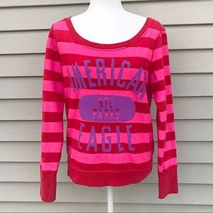 American Eagle Sweatshirt Red and Pink Size Small